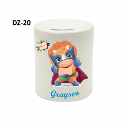 Personalised Grayson Ceramic Money Box Add Your Name or/ and Picture