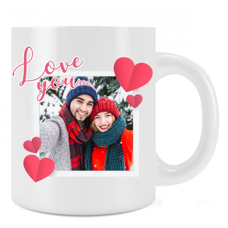 Personalised Love You 2 Mug Gift For Loved One Add Photo and Text