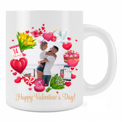 Personalised Happy Valentine's Day Mug Gift For Loved One Add Photo and Text