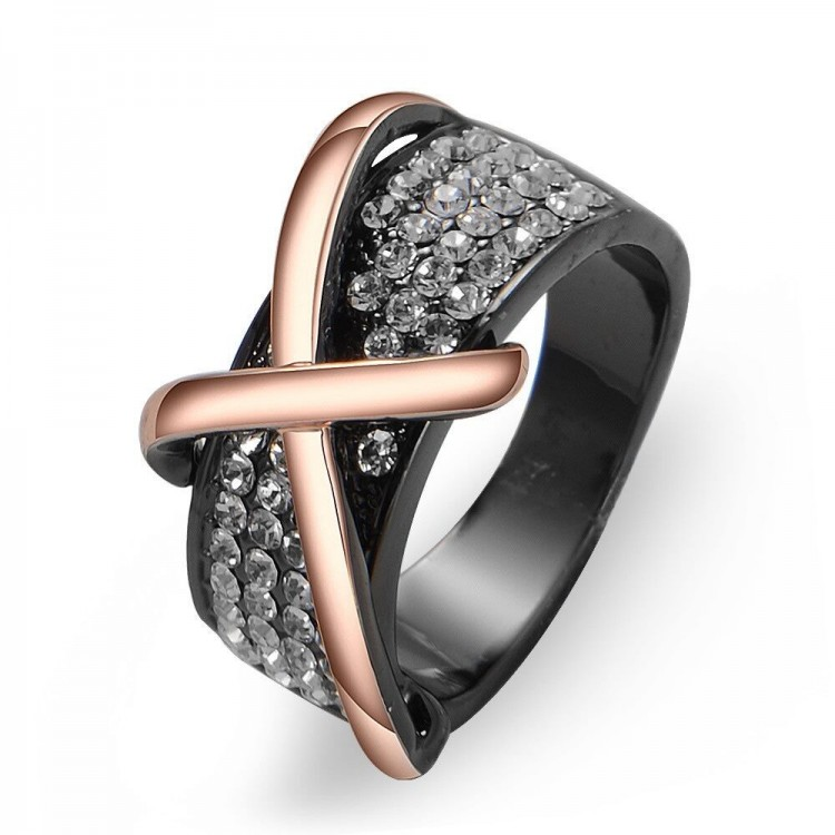 Black Gold Plated Statement Cocktail Ring With Crystals Rose Gold Cross Ring