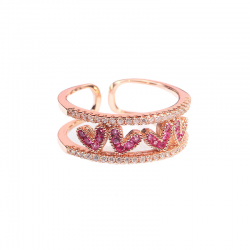 Rose Gold Plated Ring Pink Heart Crystals Clear Rhinestones Cocktail Resizable