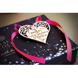 UNIQUE PERSONALISED WOODEN ENGRAVED HEART WITH SELF ADHESIVE STICKER