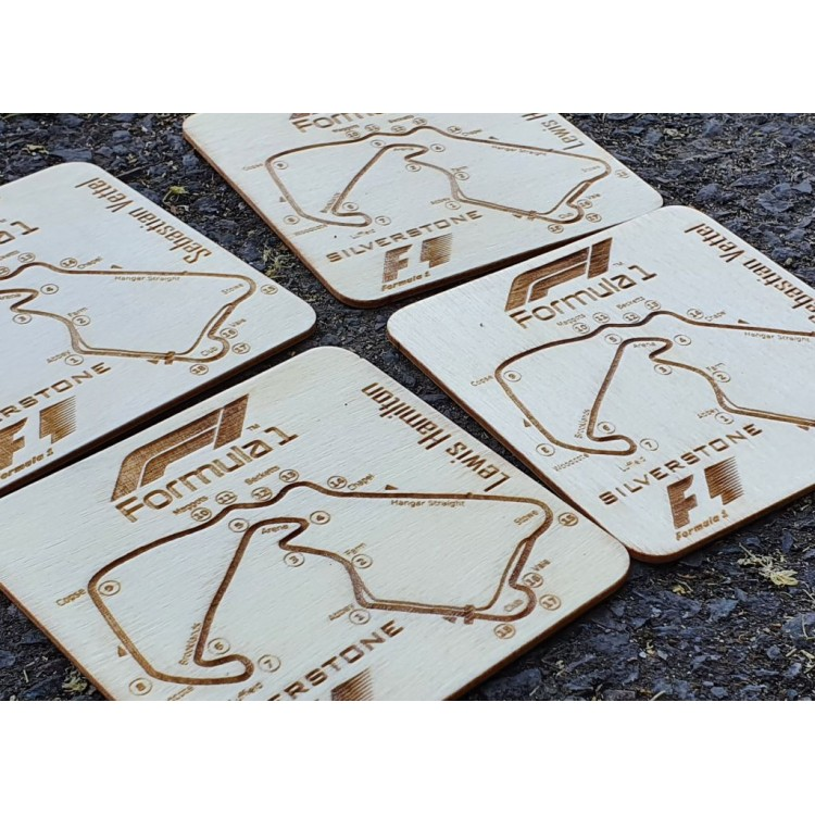 Personalised laser engraved wooden drink coasters set F1 Tracks or any graphics